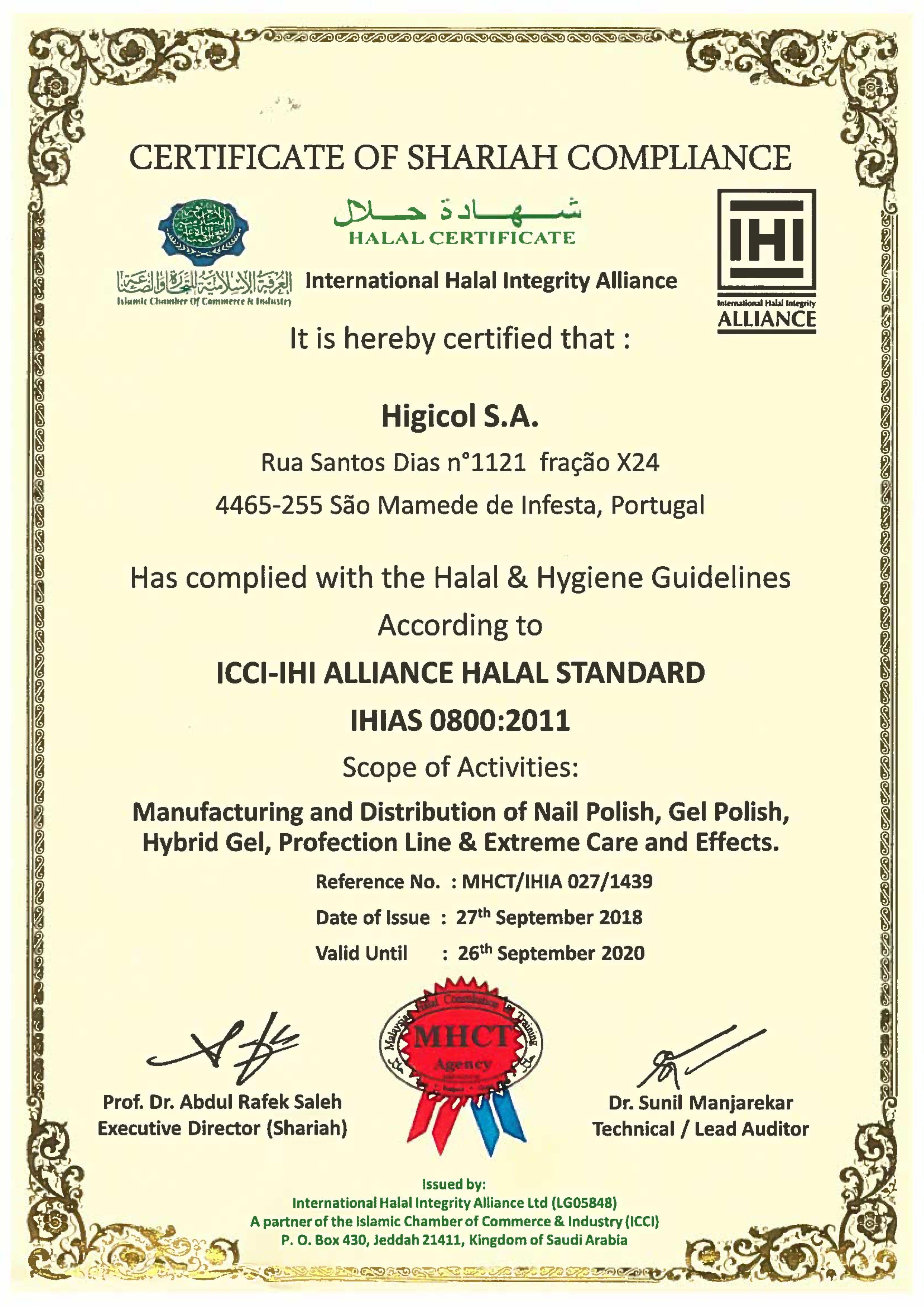 Certificat vernis halal Andreia